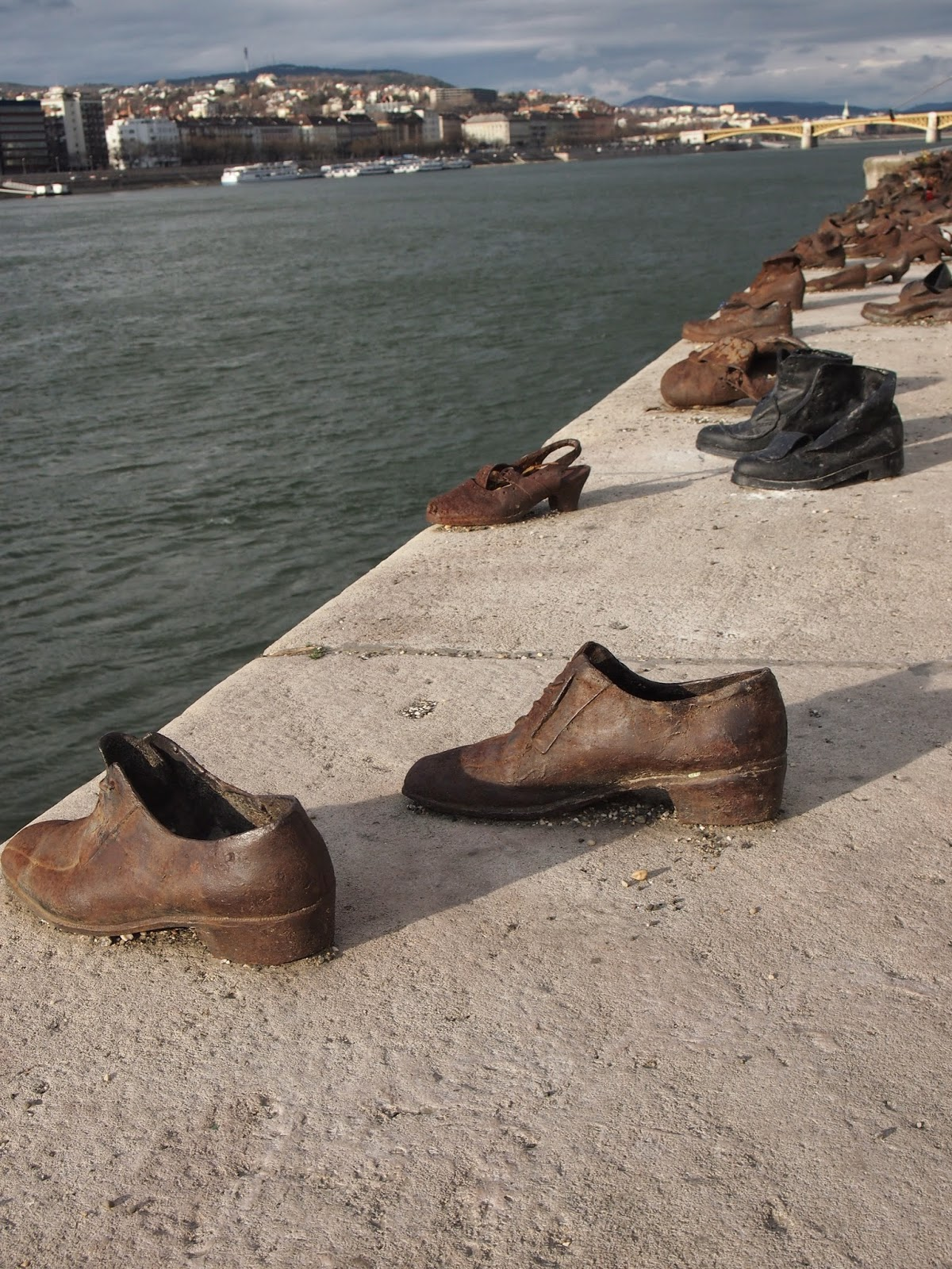 The shoes on the Danube river memorial in hungary
