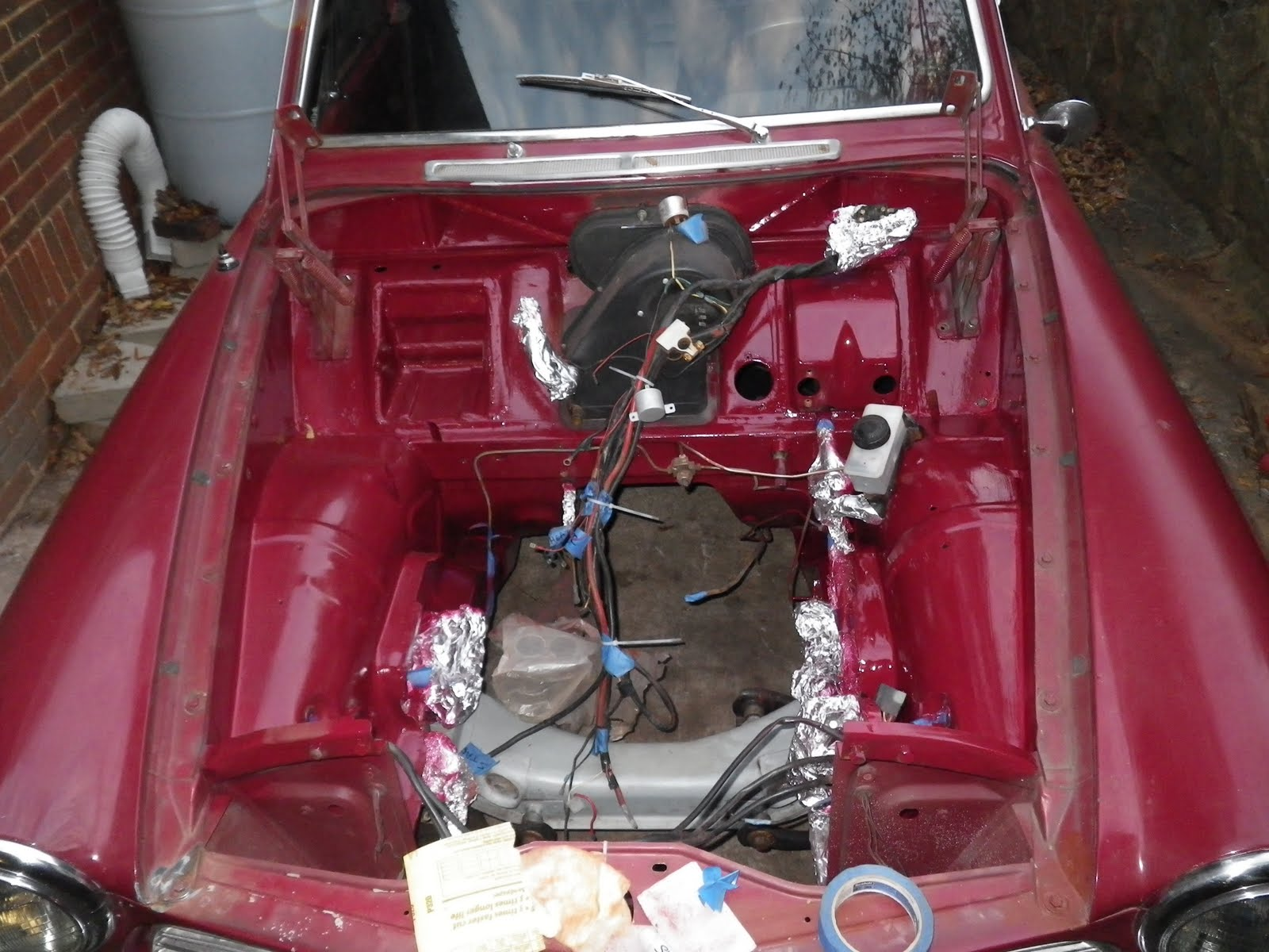 tim s 1967 volvo 122s the wiring is a mess but it started up on the second try missed a wire to the starter