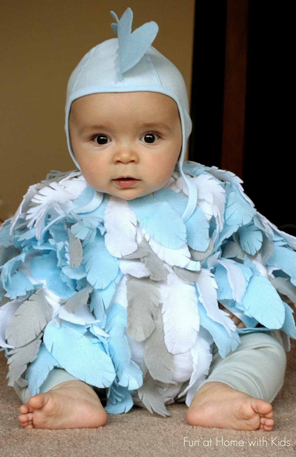 DIY No-Sew Baby Chicken Halloween Costume.  Took under 2 hours and cost under 2 dollars to make!  From Fun at Home with Kids