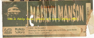Entrada, ticket, Marilyn Manson, Dead To The World, 1997, Riviera,