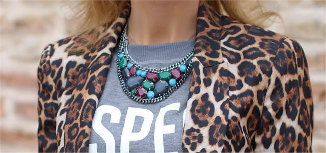Zara leopard blazer, Promod necklace, Fashion and Cookies, fashion blogger