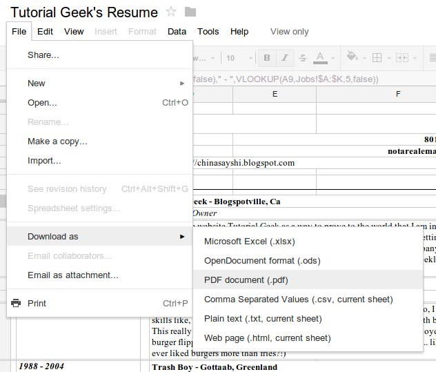 how to make a google doc spreadsheet template for a dynamic resume