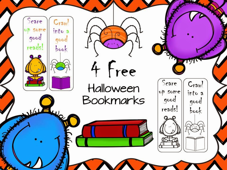 this is a set of 4 free bookmarks 2 are in color and 2 are in black and white for your students to color click here to check them out - Halloween Book Marks