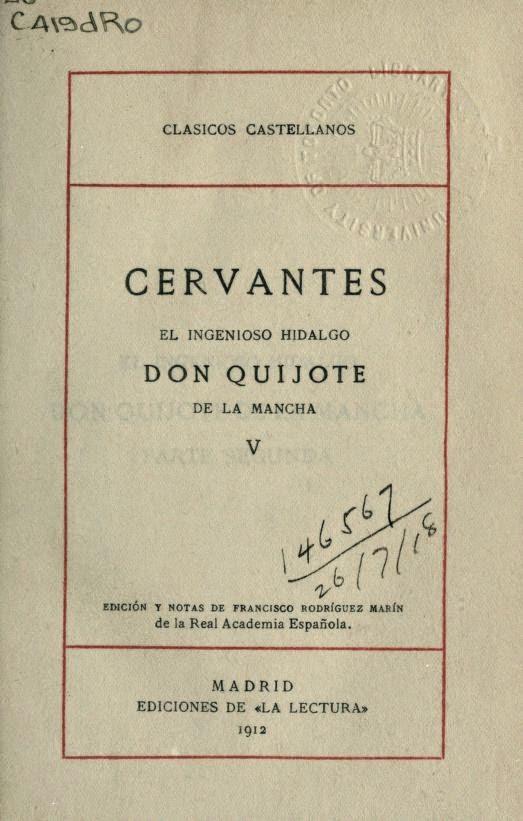 Don Quijote tomo V