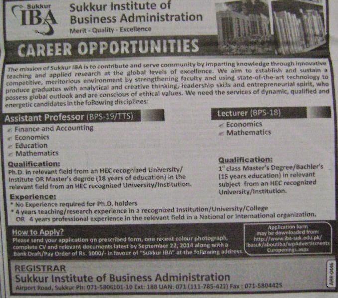 PAPERPK JOBS, Assistant Professor Required in Karachi, Assistant Professor Jobs, IBa sukkur jobs,