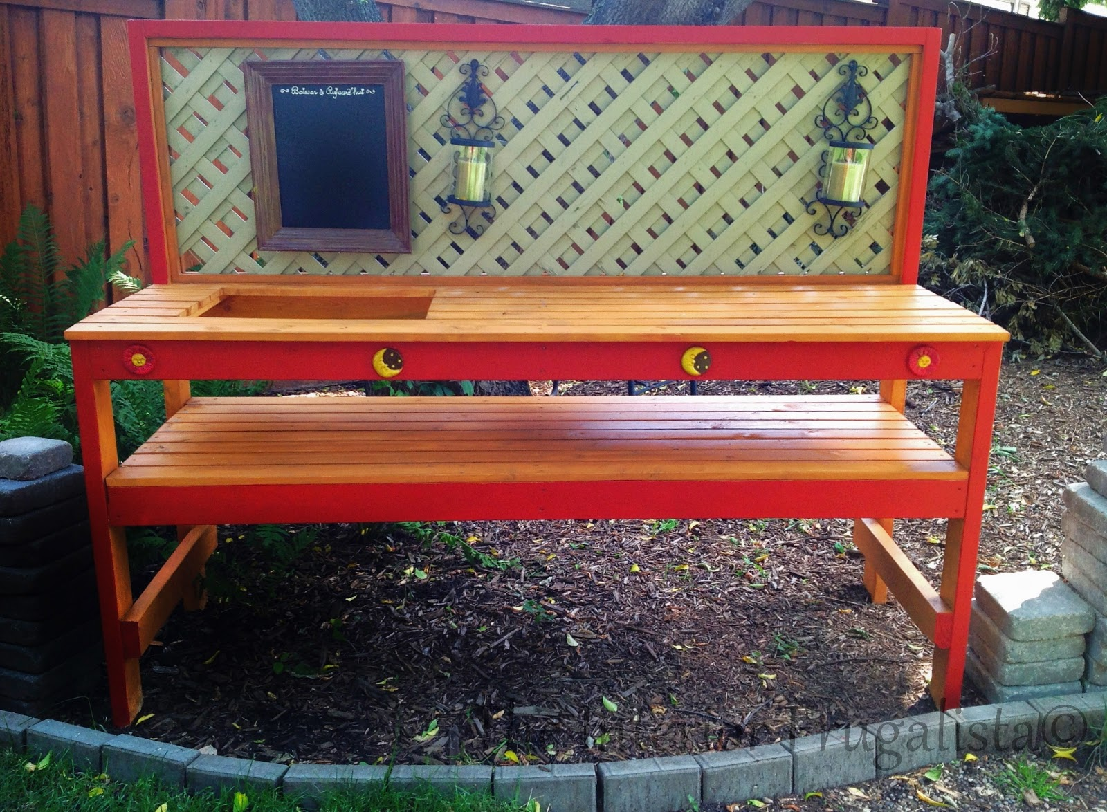 Easy DIY Potting Bench and Outdoor Bar with insert