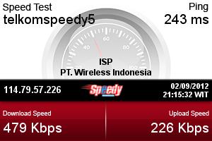 Hasil testing di Speedtest