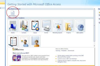 Cara Menciptakan Database Di Micosoft Access 2007
