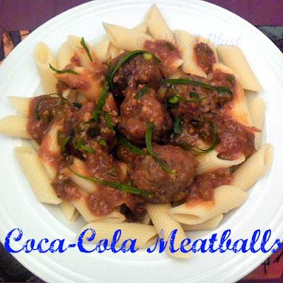 With A Blast: Coca-Cola Meatballs   {tangy & saucy!}  #cocacola #meatballs #partysnacks #snacks