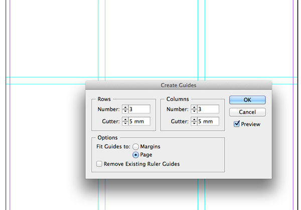 how to create grid indesign