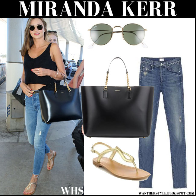 Miranda Kerr in black crop top, skinny Mother Fray jeans, gold Prada sandals with round Ray Ban sunglasses and black Saint Laurent tote what she wore street fashion