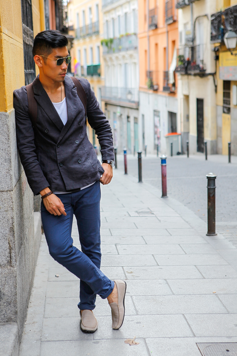 Levitate Style, Levitate Travel, Madrid Spain, Leo Chan, Alicia Mara, double breast blazer, menswear