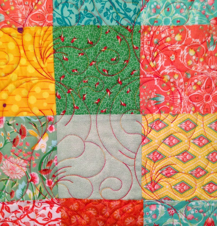 Stella Siwinski's Turquoise and  Peach Quilt