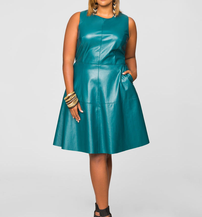 Plus Size Faux Leather Skater Dress