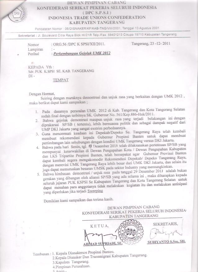 Surat DPC KSPSI-Kab.Tangerang untuk Gubernur Banten