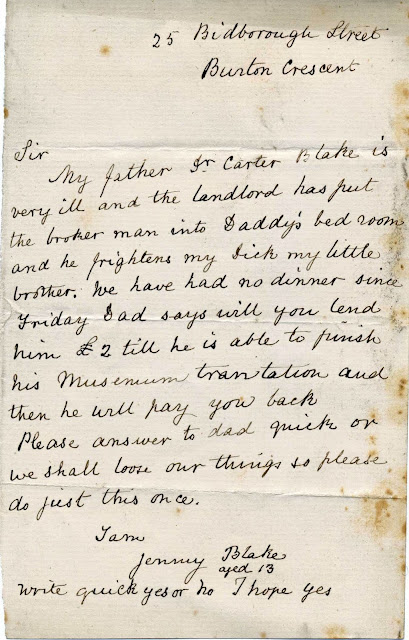 Letter from Jenny Blake to F W Rudler