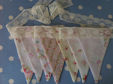 Shabby chic bunting with lace from my website