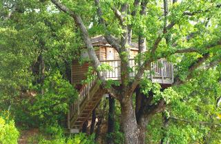 Une cabane est perchée dans le petit bois derrière la piscine et le boulodrome. On peut y dormir.