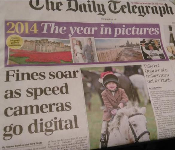 Telegraph front page: Speeding fines