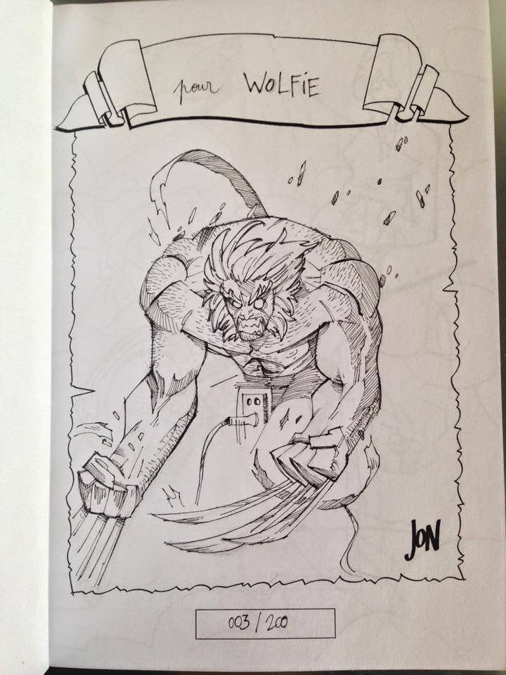 jonathan jon lankry 2D artist animation comic book animated sketchbook 2014 dedicace wolverine weapon x marvel