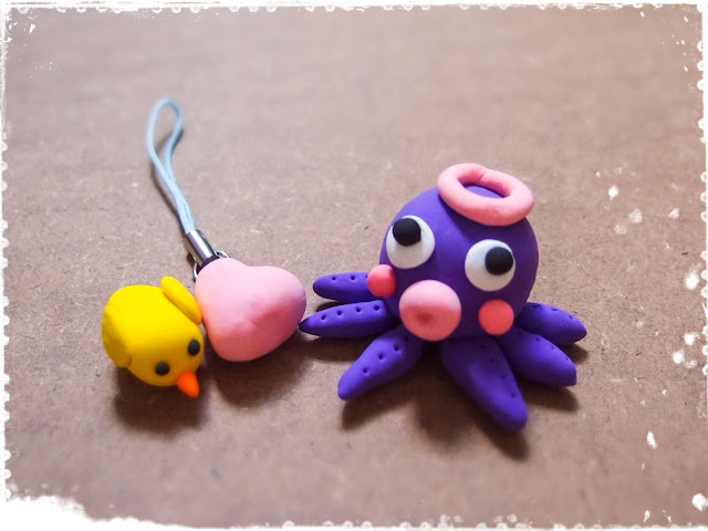clay octopus bird & heart