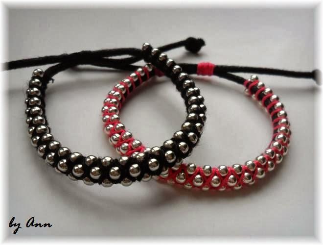 bransoletka łańcuszek kulkowy sznurek woskowany róż czerń