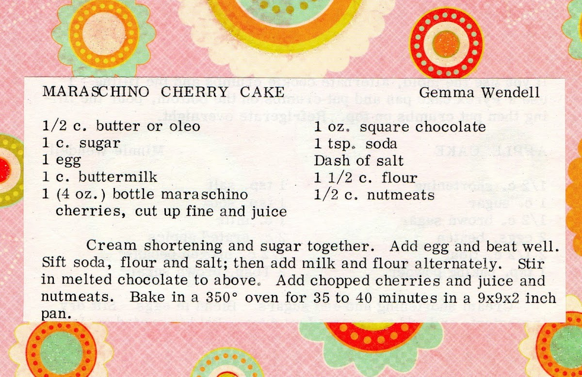 Maraschino Cherry Cake (quick recipe)