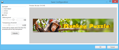 """Paint.NET PNG save dialog with """"8bit"""" level selected for Bit depth"""
