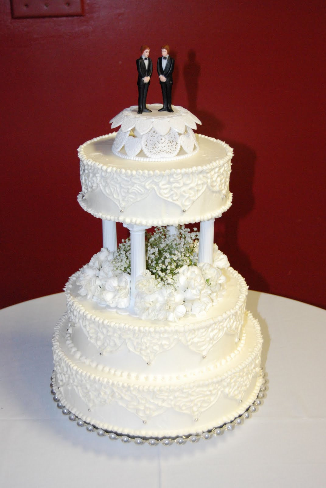 Everything Is Frosted Traditional wedding cake with