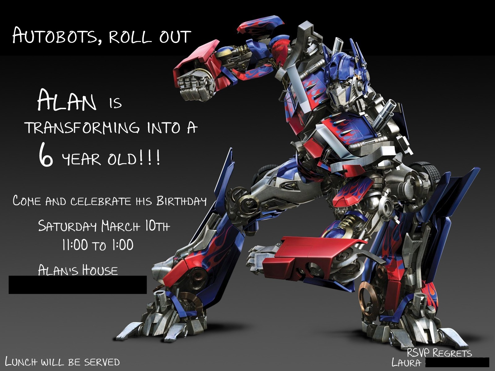 alan's transformers birthday party and a winner, Birthday invitations