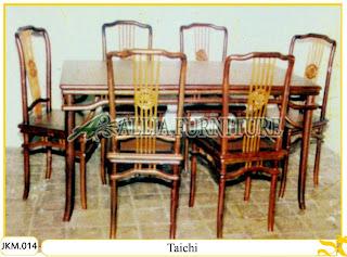 Kursi dan Meja Makan Kayu Jati Ukiran Taichi