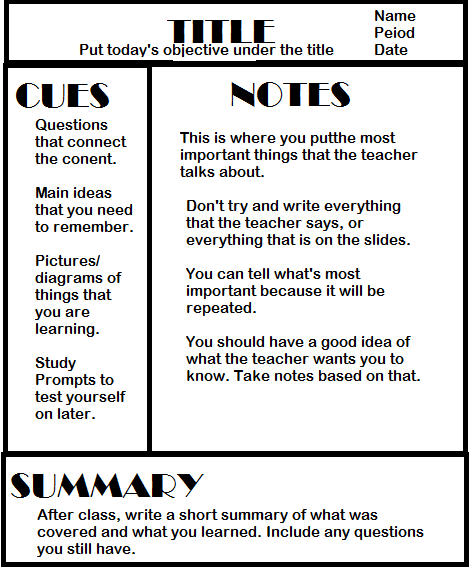 Directed Studies Blog Cornell Notes