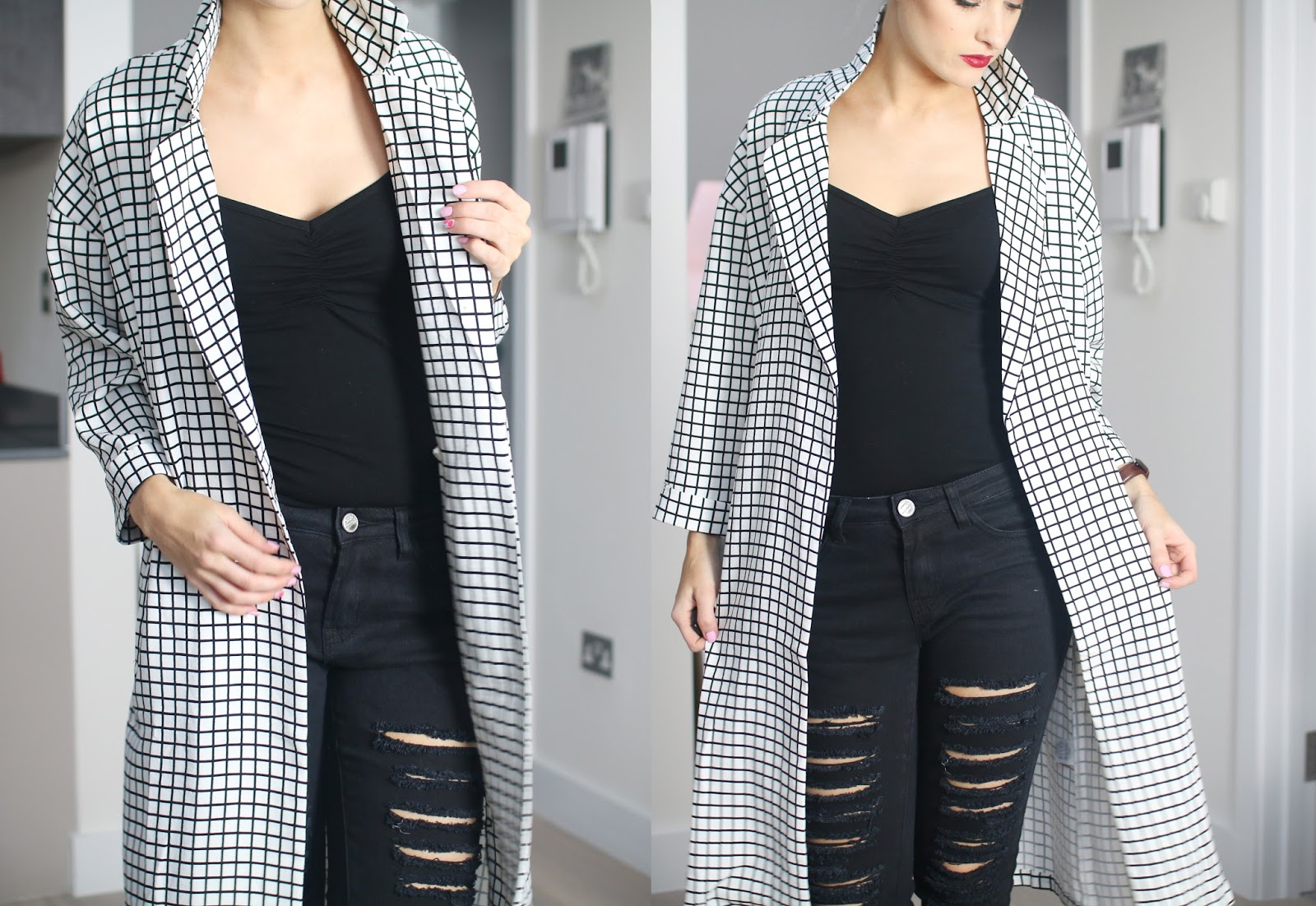 Pairing Checkerboard Prints and Ripped Denim