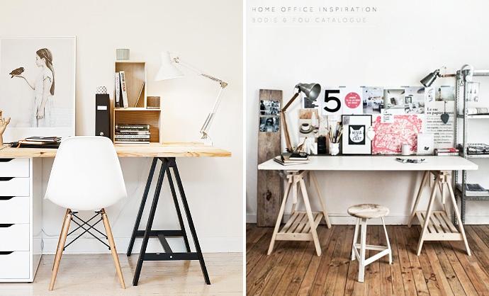 bureau sur trteaux awesome une ide pour un tout petit bureau avec un seul trteau clic with. Black Bedroom Furniture Sets. Home Design Ideas