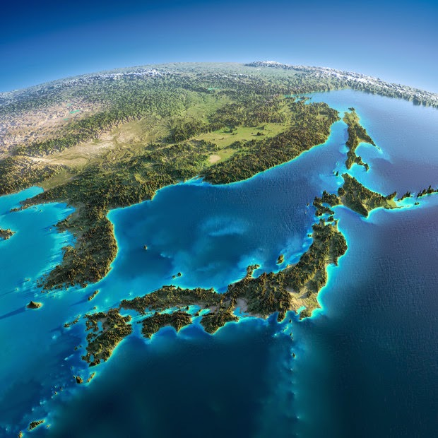 Japan, Korea & China - Fascinating Relief Maps Show The World's Mountain Ranges