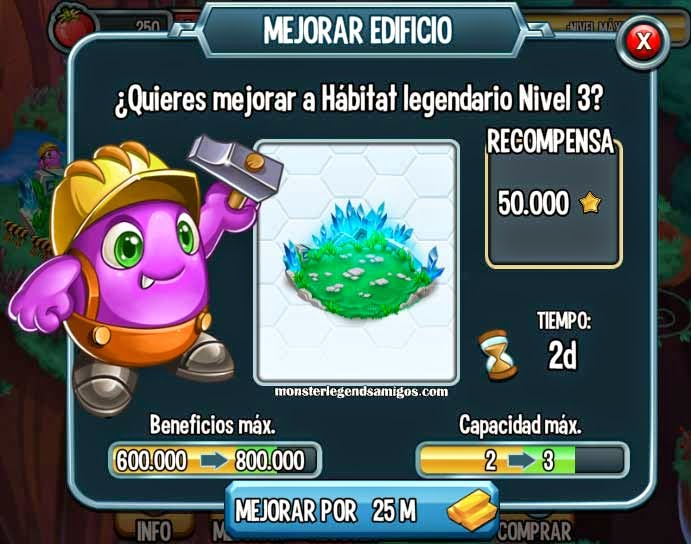 imagen del habitat legendario nivel 3 de monster legends