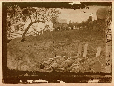 Unfinished Confederate grave near the center of battlefield of Gettysburg, July 1863. M. Brady