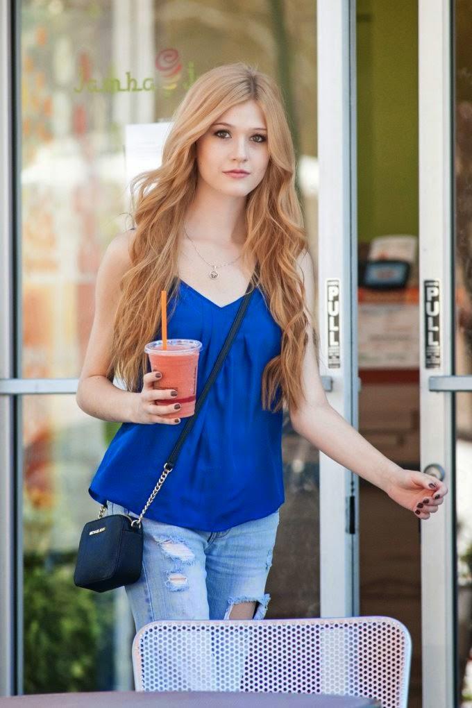 Street Style_Katherine McNamara Leaves Jamba Juice