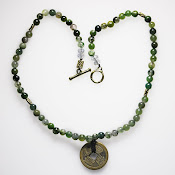 Moss Agate with Coins Necklace