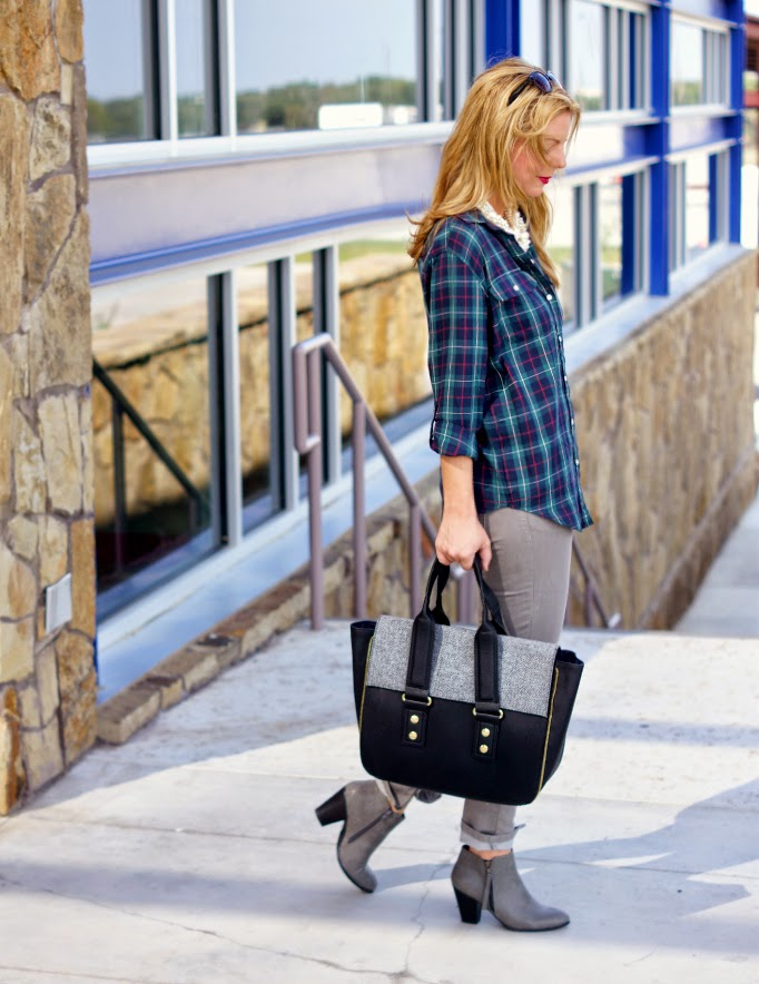 PLaid flannel with skinny denim fall style idea
