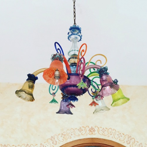 Colorful glass chandelier