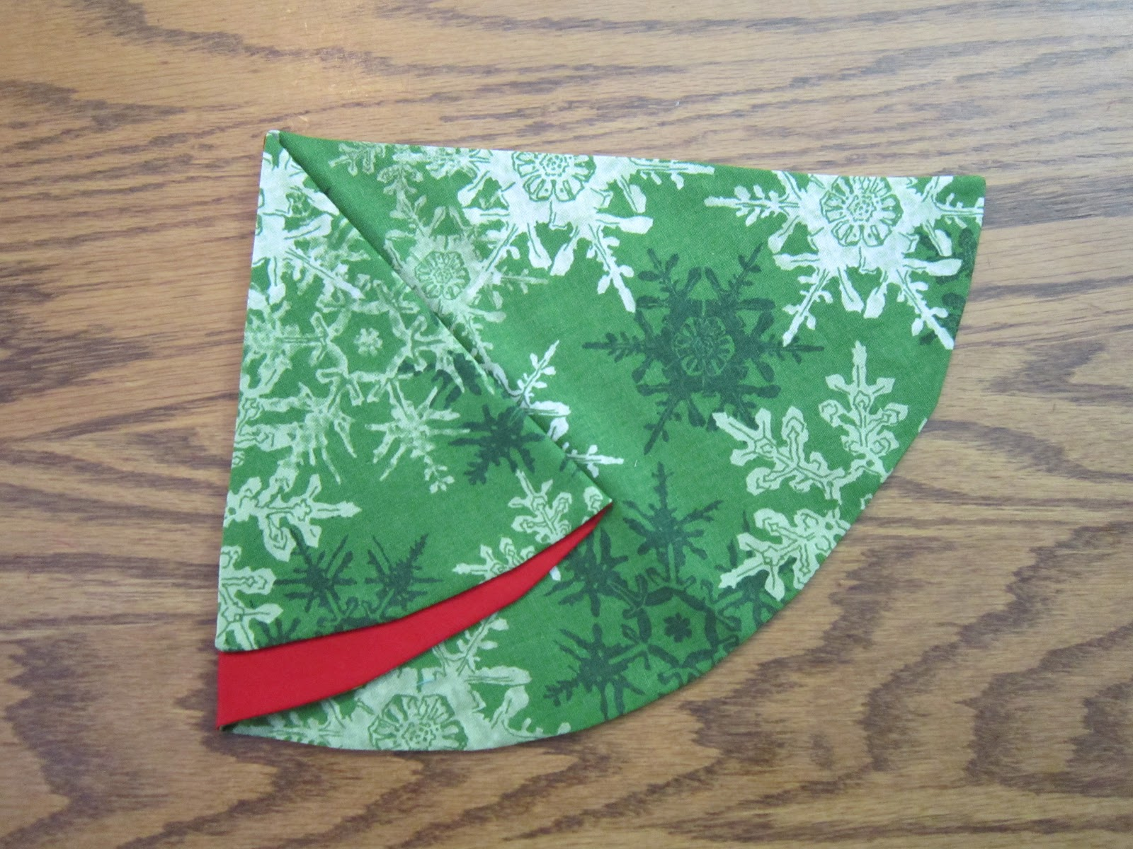 Folded fabric christmas tree - The 3rd Fold Is To Tuck Under The Green Fabric On The Right Along The Fold On Top