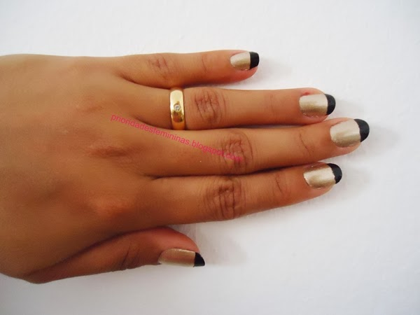 unhas preto e dourado, nail art