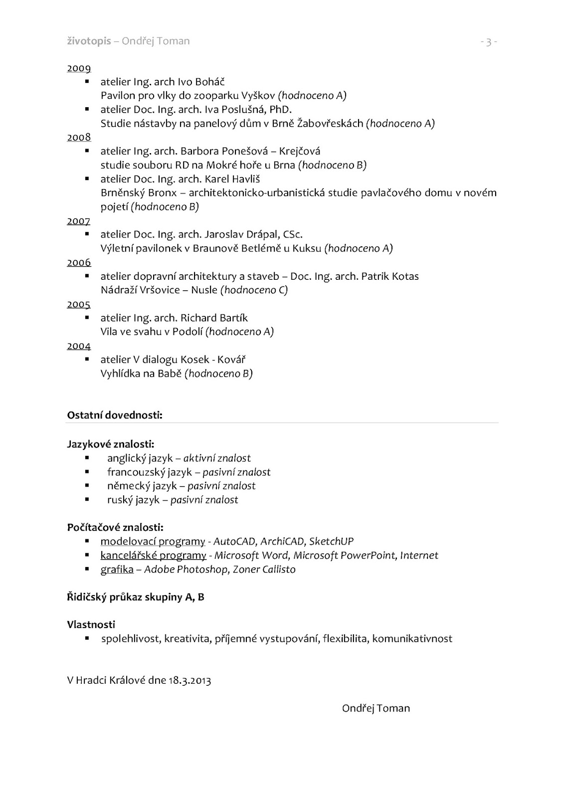 Studie Projekty Interery Cv