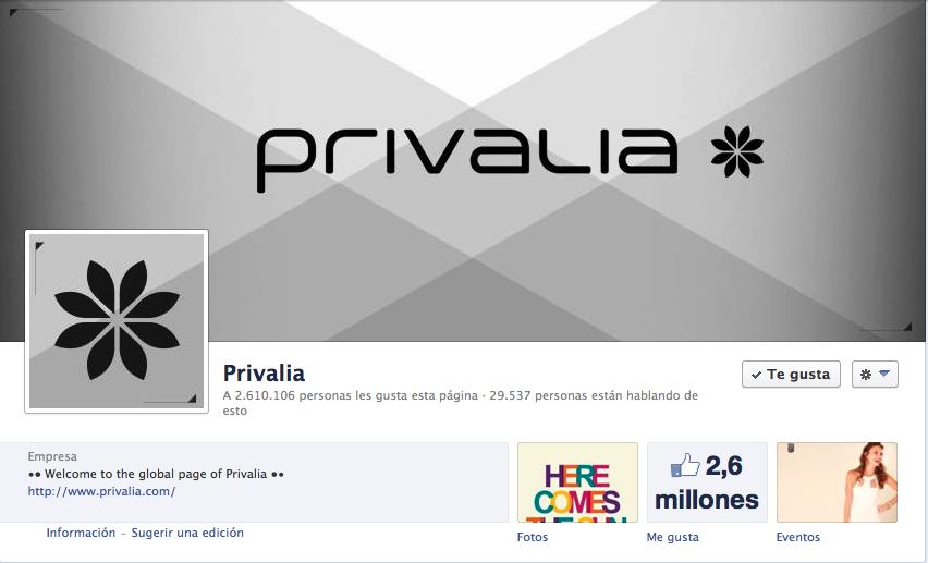 P ginas globales de facebook qu est n haciendo las for Similar a privalia