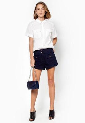 Phối đồ đẹp với áo sơ mi nữ đẹp màu trắng + quần shorts