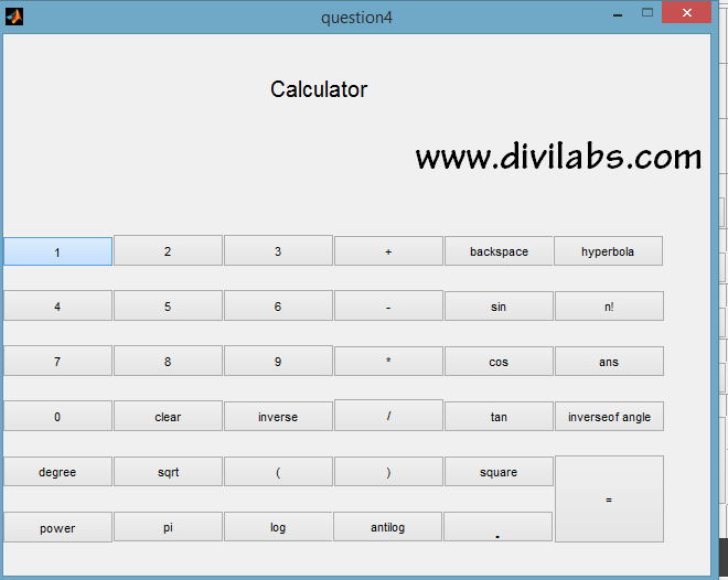 MATLAB GUI Calculator