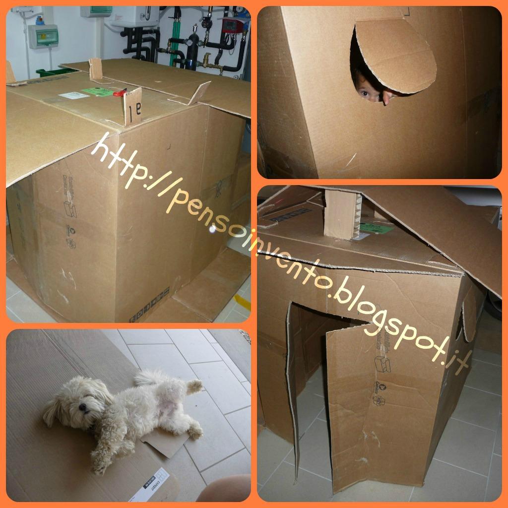 Casa di cartone per bambini che gioia per la mamma - Costruire una casetta di cartone per bambini ...