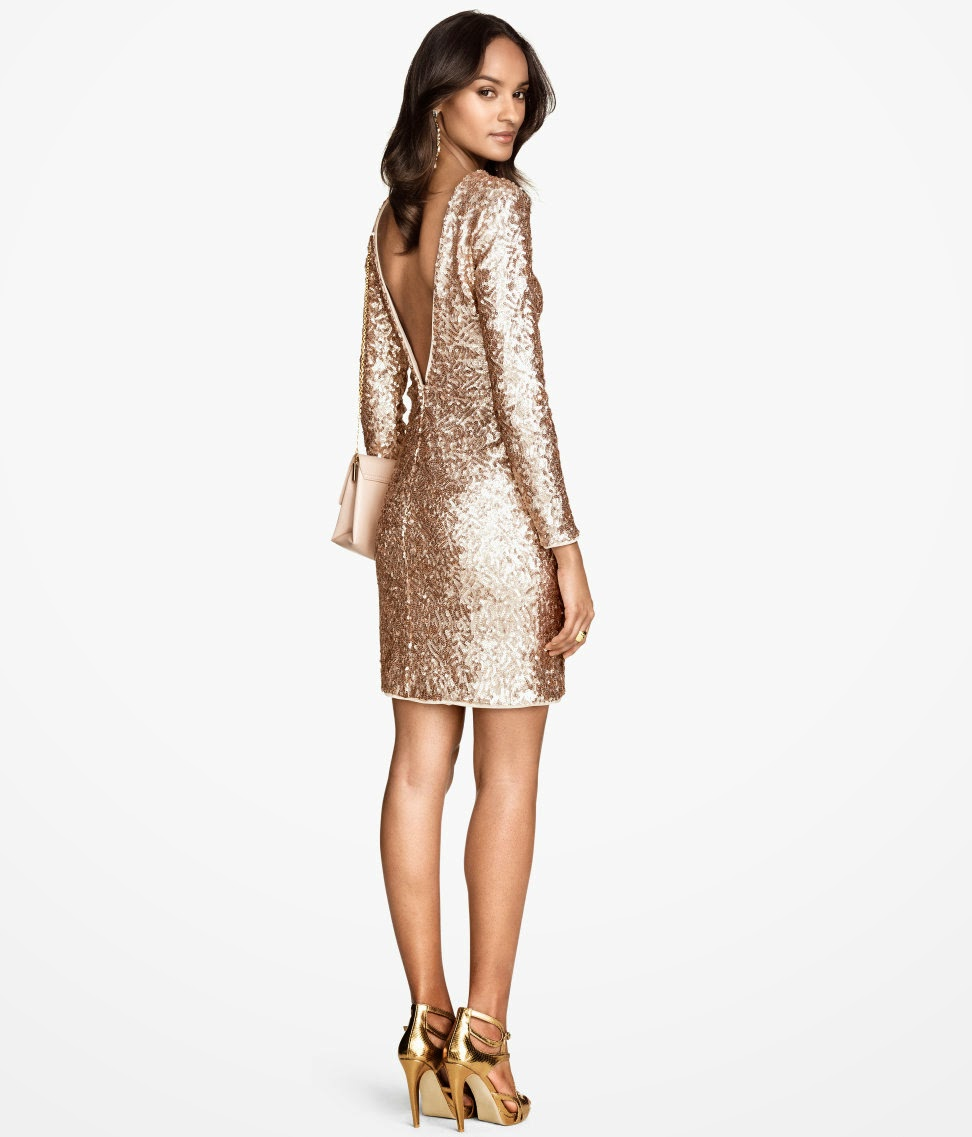 hm gold dress