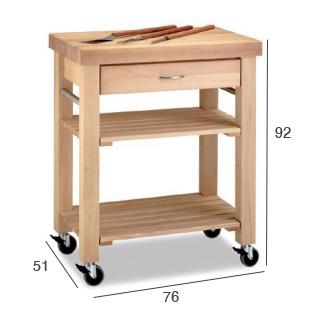 carrito cocina auxiliar bandeja cajon madera